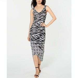 INC M Black White Zebra Stripe Dress NWT Z50